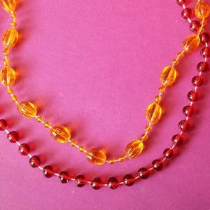 Vintage red and orange necklaces bead choker